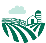 Green farm and farmland icon (Links to Ag Loans.)